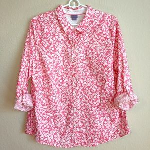 Laura Scott Pink And White Floral Shirt